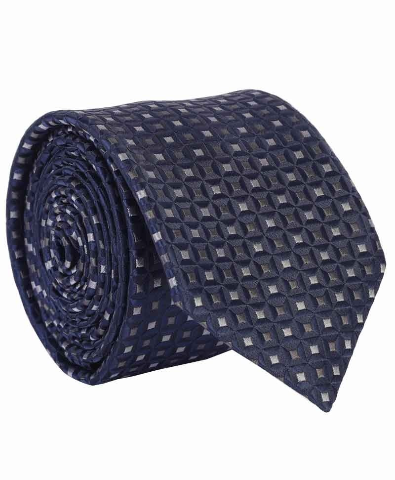3 Pc Men's Corporate Blue Color Textile Weave Aarogyaa Micro Zacard Silk Tie Neck Set Cuff Links Scarf