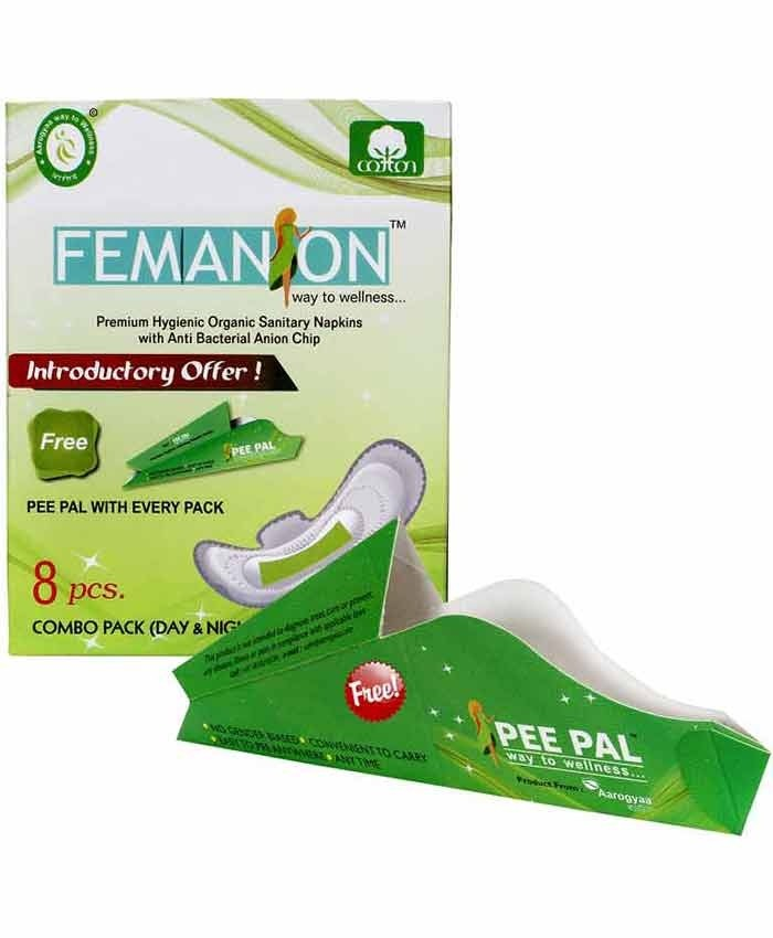 PADS COMBO SANITARY PACK DISPOSABLE COTTON FEMANION WITH PEE PAL  DISPOSABLE URINATION DEVICE FREE